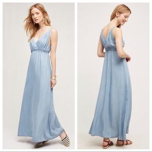Anthropologie Denim Chambray Malpais Maxi Dress